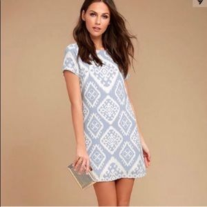 Lulus small Ikat Shift Dress Blue Give Me Print